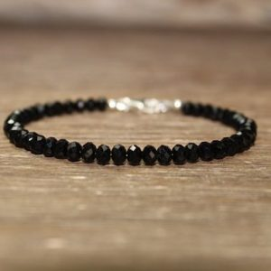 Shop Spinel Bracelets! Chunky Black Spinel Bracelet, Faceted Beads, Black Spinel Jewelry, Sterling Silver, Minimalist, Layering Bracelet | Natural genuine Spinel bracelets. Buy crystal jewelry, handmade handcrafted artisan jewelry for women.  Unique handmade gift ideas. #jewelry #beadedbracelets #beadedjewelry #gift #shopping #handmadejewelry #fashion #style #product #bracelets #affiliate #ad