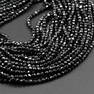 "Shop Spinel Faceted Beads! AAA Genuine 100% Natural Black Spinel Micro Faceted Round Beads Tiny Small 2mm 3mm 4mm Faceted Round Beads Diamond Cut Gemstone 15.5"" Strand 