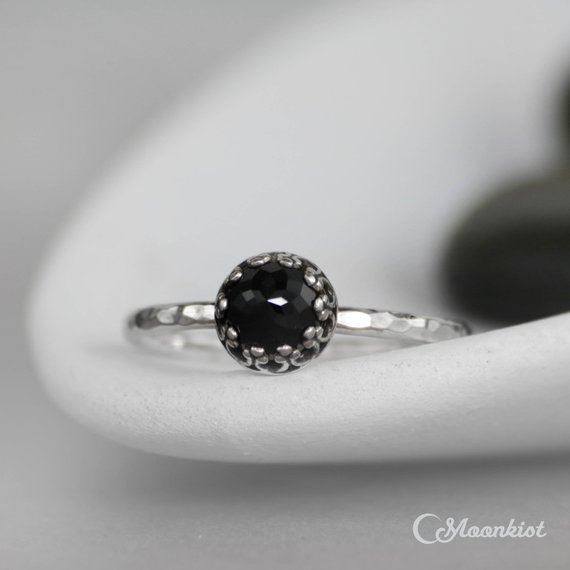 Black Spinel Promise Ring, Sterling Silver Black Spinel Ring, Black Gemstone Stacking Ring, Goth Ring | Moonkist Designs