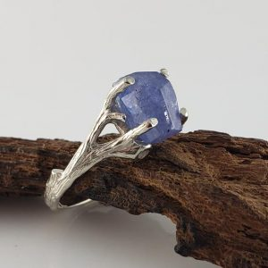 Shop Tanzanite Rings! Hand Cut Rough 3ct Tanzanite in 14k White Gold Twig Ring Setting, Gemstone Solitaire, Engagement Ring by Dawn Vertrees | Natural genuine Tanzanite rings, simple unique alternative gemstone engagement rings. #rings #jewelry #bridal #wedding #jewelryaccessories #engagementrings #weddingideas #affiliate #ad