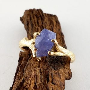 Shop Tanzanite Rings! Yellow Gold Raw Tanzanite Ring – Gemstone Engagement Ring – Gold Engagement Ring – Raw Tanzanite – Tanzanite Gemstone | Natural genuine Tanzanite rings, simple unique alternative gemstone engagement rings. #rings #jewelry #bridal #wedding #jewelryaccessories #engagementrings #weddingideas #affiliate #ad