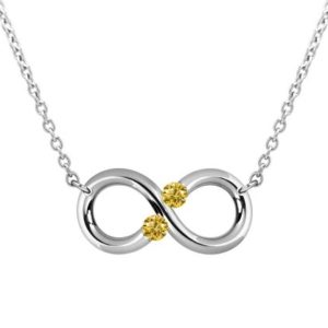Shop Yellow Sapphire Necklaces! Taormina Infinity Necklace Yellow Sapphire Topaz Tension Set Steel Stainless | Natural genuine Yellow Sapphire necklaces. Buy crystal jewelry, handmade handcrafted artisan jewelry for women.  Unique handmade gift ideas. #jewelry #beadednecklaces #beadedjewelry #gift #shopping #handmadejewelry #fashion #style #product #necklaces #affiliate #ad