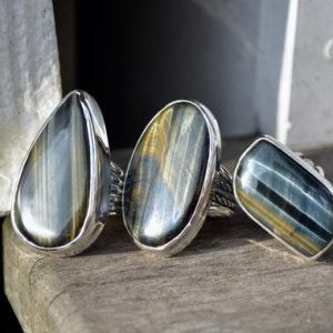 Shop Tiger Eye Rings! Hawks Eye Ring, Hawks Eye, Tigers Eye, Tigers Eye Ring, statement Ring, Gemstone Ring, Large Gemstone Ring, Sterling Silver, Silver Ring | Natural genuine Tiger Eye rings, simple unique handcrafted gemstone rings. #rings #jewelry #shopping #gift #handmade #fashion #style #affiliate #ad