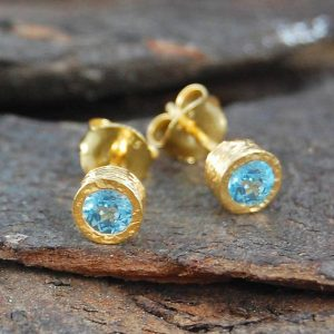 Shop Topaz Earrings! Gemstone Stud Earrings, Gold Studs, Blue Topaz Earrings, Round Earrings, November Birthstone, Birthstone Earrings, Jewelry Gift Set, Embers | Natural genuine Topaz earrings. Buy crystal jewelry, handmade handcrafted artisan jewelry for women.  Unique handmade gift ideas. #jewelry #beadedearrings #beadedjewelry #gift #shopping #handmadejewelry #fashion #style #product #earrings #affiliate #ad