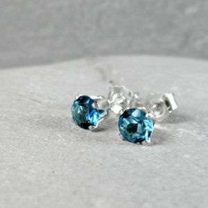 Shop Topaz Earrings! London Blue Topaz Stud Earrings, November Birthstone, Minimalist, Dainty Stud Earrings, Sterling Silver, Gold, Passion Stone, Throat Chakra | Natural genuine Topaz earrings. Buy crystal jewelry, handmade handcrafted artisan jewelry for women.  Unique handmade gift ideas. #jewelry #beadedearrings #beadedjewelry #gift #shopping #handmadejewelry #fashion #style #product #earrings #affiliate #ad