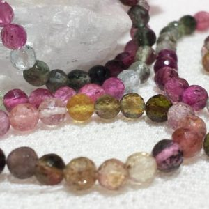 Shop Tourmaline Faceted Beads! Natural Tourmaline Beads, Multi Color Tourmaline Beads, 4mm Micro Faceted Round Tourmaline Beads, Pink, Green, Black, All Full Strand | Natural genuine faceted Tourmaline beads for beading and jewelry making.  #jewelry #beads #beadedjewelry #diyjewelry #jewelrymaking #beadstore #beading #affiliate #ad