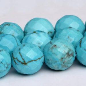 Shop Turquoise Faceted Beads! Mint Blue Turquoise Beads Grade AAA Faceted Round Loose Beads 4/6/8/10MM Bulk Lot Options | Natural genuine faceted Turquoise beads for beading and jewelry making.  #jewelry #beads #beadedjewelry #diyjewelry #jewelrymaking #beadstore #beading #affiliate #ad
