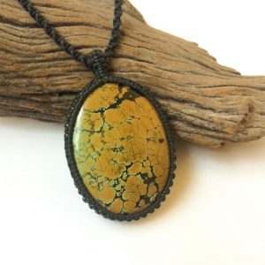 Shop Turquoise Pendants! Tibetan Turquoise Macrame Necklace, Natural Turquoise Pendant Necklace, Blue Green Landscape Stone, Natural Stone Necklace, Jewelry For Men | Natural genuine Turquoise pendants. Buy handcrafted artisan men's jewelry, gifts for men.  Unique handmade mens fashion accessories. #jewelry #beadedpendants #beadedjewelry #shopping #gift #handmadejewelry #pendants #affiliate #ad