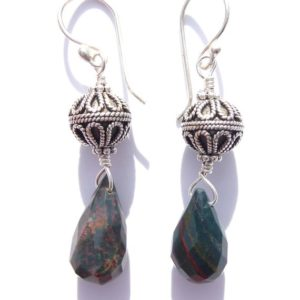 Shop Rainforest Jasper Earrings! Wire-wrapped Rainforest Jasper Earrings with Sterling Bali Beads | Natural genuine Rainforest Jasper earrings. Buy crystal jewelry, handmade handcrafted artisan jewelry for women.  Unique handmade gift ideas. #jewelry #beadedearrings #beadedjewelry #gift #shopping #handmadejewelry #fashion #style #product #earrings #affiliate #ad