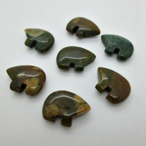 Shop Rainforest Jasper Beads! Zuni Bear Beads, Rainforest Jasper Bear, 12x18mm (4) | Natural genuine other-shape Rainforest Jasper beads for beading and jewelry making.  #jewelry #beads #beadedjewelry #diyjewelry #jewelrymaking #beadstore #beading #affiliate #ad
