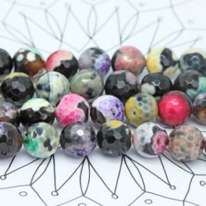 Shop Agate Faceted Beads! Rainbow China Agate faceted Beads  10mm / Faceted Fire Agate beads / Cracked Agate Beads / Multi Coloured Amazing  Faceted Gemstone Beads | Natural genuine faceted Agate beads for beading and jewelry making.  #jewelry #beads #beadedjewelry #diyjewelry #jewelrymaking #beadstore #beading #affiliate #ad