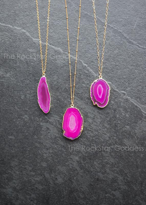 Druzy Necklace / Agate Necklace / Pink Agate Necklace / Crystal Necklace / Agate Jewelry