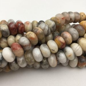 "Shop Agate Rondelle Beads! 2.0mm Hole Crazy Agate Smooth Rondelle Beads 5x8mm 6x10mm 8"" Strand 