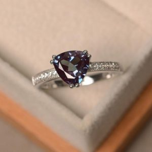 Shop Alexandrite Rings! Trillion Cut, Lab Alexandrite Ring, Sterling Silver Ring, June Birthstone Ring, Color Changing Gemstone Ring | Natural genuine Alexandrite rings, simple unique handcrafted gemstone rings. #rings #jewelry #shopping #gift #handmade #fashion #style #affiliate #ad