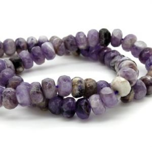 Natural Lavender Amethyst Faceted Rondelle Loose Gemstone Beads – Full Strand | Natural genuine faceted Amethyst beads for beading and jewelry making.  #jewelry #beads #beadedjewelry #diyjewelry #jewelrymaking #beadstore #beading #affiliate #ad