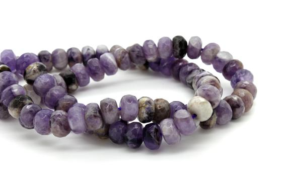 Natural Lavender Amethyst Faceted Rondelle Loose Gemstone Beads - Full Strand
