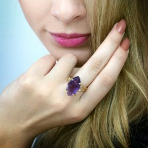 Shop Amethyst Jewelry! Amethyst ring,gold ring,marquise ring,February birthstone ring,stone ring,double band ring,vintage ring,purple ring,bridal ring silver | Natural genuine Amethyst jewelry. Buy handcrafted artisan wedding jewelry.  Unique handmade bridal jewelry gift ideas. #jewelry #beadedjewelry #gift #crystaljewelry #shopping #handmadejewelry #wedding #bridal #jewelry #affiliate #ad