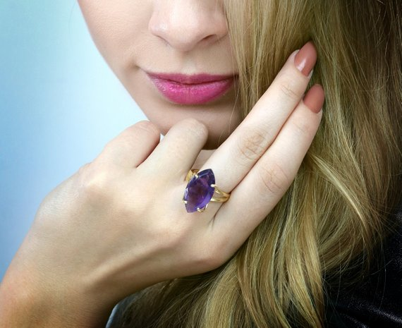Amethyst Ring, Gold Ring, Marquise Ring, February Birthstone Ring, Stone Ring, Double Band Ring, Vintage Ring, Purple Ring