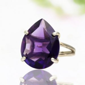 Shop Amethyst Jewelry! Pear gemstone ring,Amethyst ring,birthstone gift,bridal ring,purple amethyst,February birthstone ring,Energy ring,cocktail ring silver | Natural genuine Amethyst jewelry. Buy handcrafted artisan wedding jewelry.  Unique handmade bridal jewelry gift ideas. #jewelry #beadedjewelry #gift #crystaljewelry #shopping #handmadejewelry #wedding #bridal #jewelry #affiliate #ad