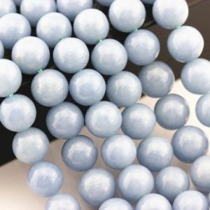"Shop Angelite Beads! Natural Angelite Smooth Round Size 4mm 6mm 8mm 10m 12mm 15.5"" Strand 