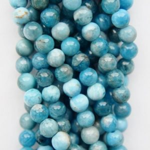 "Shop Apatite Round Beads! Genuine Blue Apatite Beads – Round 4 mm Gemstone Beads – Full Strand 15 1/2"", 95 beads, AB+ Quality 