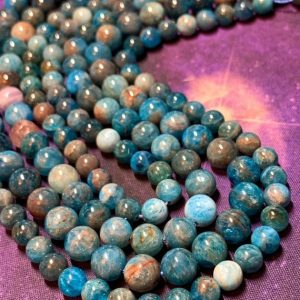 Shop Apatite Beads! Neon Blue Apatite Round  Beads / Teal Gemstone Beads Sea Ocean Blue Gemstone Beads | Natural genuine beads Apatite beads for beading and jewelry making.  #jewelry #beads #beadedjewelry #diyjewelry #jewelrymaking #beadstore #beading #affiliate #ad