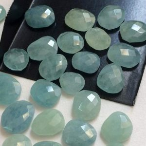 Shop Aquamarine Stones & Crystals! 5 Pcs Aquamarine Rose Cut Cabochons, 11-14mm Flat Back Natural Aquamarine Cabochons, Loose Faceted Aquamarine Gemstones – Pdg54 | Natural genuine stones & crystals in various shapes & sizes. Buy raw cut, tumbled, or polished gemstones for making jewelry or crystal healing energy vibration raising reiki stones. #crystals #gemstones #crystalhealing #crystalsandgemstones #energyhealing #affiliate #ad