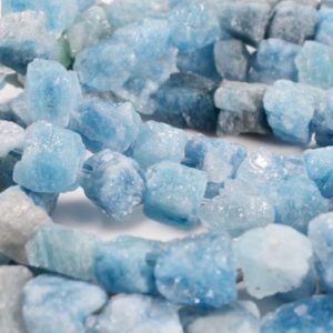 "Full Strand(16"")Raw Aquamarine Nuggets/Natural  Aquamarine Polished Chunks/Rough  Aquamarine gravel/power beads-1point is appx.8-10mm 