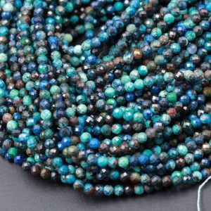 "Micro Faceted Tiny Small Natural Azurite Round Beads 2mm 3mm Faceted Round Bead Laser Diamond Cut Blue Green Gemstone 15.5"" Strand 