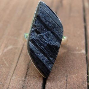 Shop Black Tourmaline Rings! Handmade Natural Rough Black Tourmaline Sterling silver Ring Size 6 – Sterling Silver tourmaline Ring Size 6 – Natural stone ring size 6 | Natural genuine Black Tourmaline rings, simple unique handcrafted gemstone rings. #rings #jewelry #shopping #gift #handmade #fashion #style #affiliate #ad