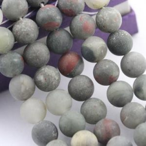 "Shop Bloodstone Beads! 2.0mm Large Hole Matte Africa Bloodstone Gemstone Round Loose Beads Size 8mm / 10mm Approx 15.5"" Per Strand. R-m-l-jas-0232 