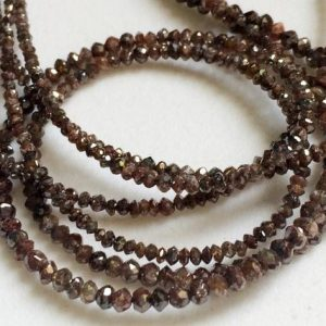 Shop Raw & Rough Diamond Beads! 2 Inch Red Brown Sparkling Diamonds, Brown Faceted Diamond Rondelle Beads, 1.5-2.5mm, Diamond Beads, Raw Diamonds – DSA10 | Natural genuine beads Diamond beads for beading and jewelry making.  #jewelry #beads #beadedjewelry #diyjewelry #jewelrymaking #beadstore #beading #affiliate #ad