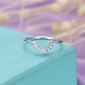 Shop Diamond Rings! Pear shaped Diamond wedding band Curved wedding band Women Delicate Dainty Jewelry Matching Bridal Anniversary gift for her Personalized | Natural genuine Diamond rings, simple unique alternative gemstone engagement rings. #rings #jewelry #bridal #wedding #jewelryaccessories #engagementrings #weddingideas #affiliate #ad