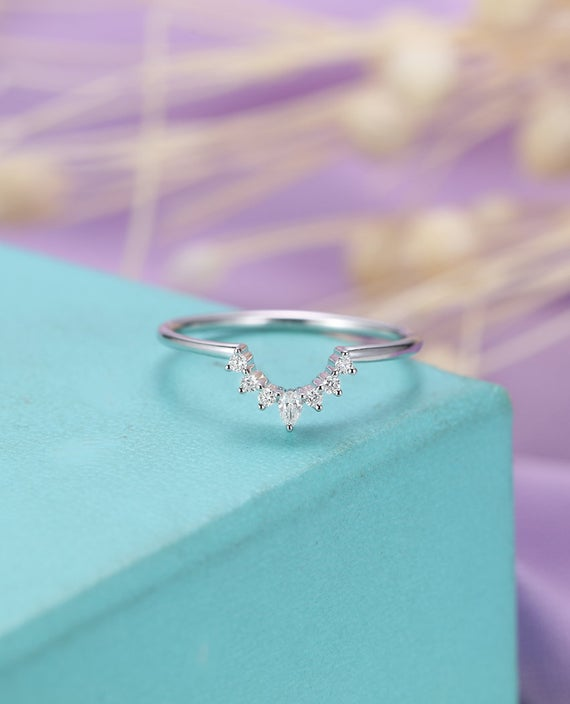Pear Shaped Diamond Wedding Band Curved Wedding Band Women Delicate Dainty Jewelry Matching Bridal Anniversary Gift For Her Personalized