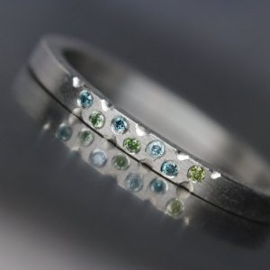 Shop Diamond Rings! Women's Platinum Green Blue Diamond Wedding Band Modern Underwater Ocean Romantic Luxurious Minimalistic Bridal Ring Hers – Mermaid Bubbles | Natural genuine Diamond rings, simple unique alternative gemstone engagement rings. #rings #jewelry #bridal #wedding #jewelryaccessories #engagementrings #weddingideas #affiliate #ad