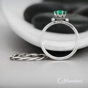 Emerald Oval Engagement Ring Set, Sterling Silver Wedding Ring Set, Celtic Crown Engagement Ring & Twist Band | Moonkist Designs | Natural genuine Gemstone rings, simple unique alternative gemstone engagement rings. #rings #jewelry #bridal #wedding #jewelryaccessories #engagementrings #weddingideas #affiliate #ad