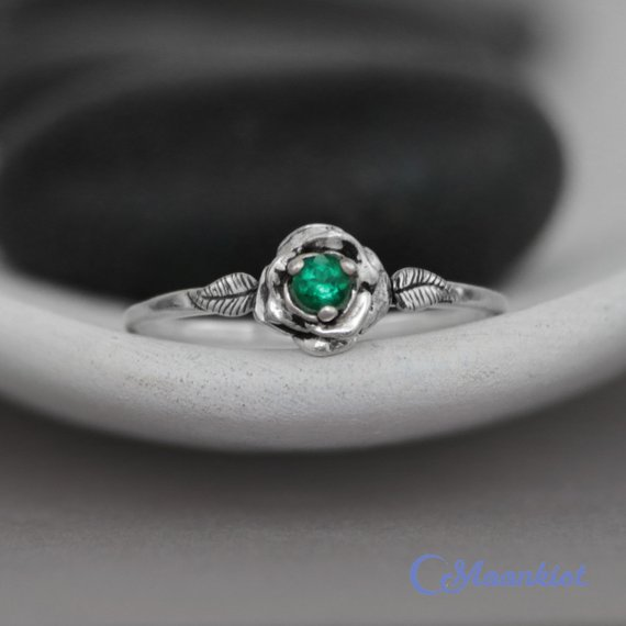 Silver Rose Engagement Ring, Emerald Promise Ring, Silver Flower Ring, Emerald Birthstone Ring, May Birthstone Ring | Moonkist Designs