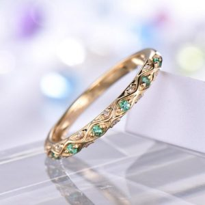 Emerald Wedding Band Diamond Emerald Ring 14k Yellow Gold Filigree Unique Style Promise Ring Natural Emerald Personalized Antique Retro | Natural genuine Gemstone rings, simple unique alternative gemstone engagement rings. #rings #jewelry #bridal #wedding #jewelryaccessories #engagementrings #weddingideas #affiliate #ad
