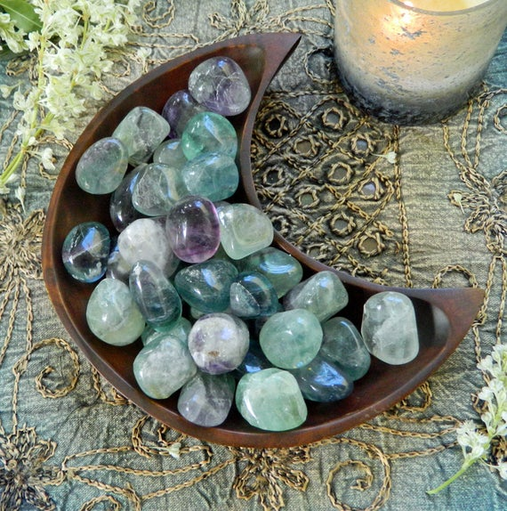 Multi Colored Tumbled Fluorite -the Stone For Communication And Spiritual Awakening