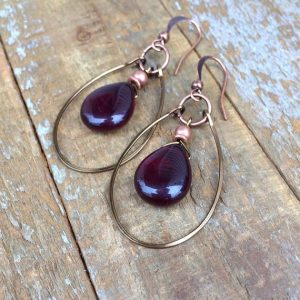 Garnet Red Earrings, Boho Dangle Earrings, Red Teardrop Earrings, Garnet Red Jewelry, Copper Earrings | Natural genuine Array jewelry. Buy crystal jewelry, handmade handcrafted artisan jewelry for women.  Unique handmade gift ideas. #jewelry #beadedjewelry #beadedjewelry #gift #shopping #handmadejewelry #fashion #style #product #jewelry #affiliate #ad