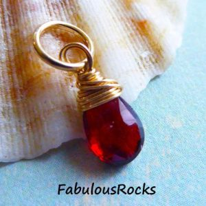 Shop Garnet Bead Shapes! GARNET Pendant Charm, Small Pear Add a Dangle Drop / January Birthstone Jewelry for Friend Mom Mother Bridesmaids Grandma Friend Gift gd12 | Natural genuine other-shape Garnet beads for beading and jewelry making.  #jewelry #beads #beadedjewelry #diyjewelry #jewelrymaking #beadstore #beading #affiliate #ad