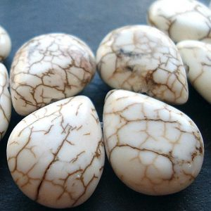 Howlite Beads 20 x 14mm White Shiny Smooth Teardrop Briolettes –  6 Pieces | Natural genuine other-shape Howlite beads for beading and jewelry making.  #jewelry #beads #beadedjewelry #diyjewelry #jewelrymaking #beadstore #beading #affiliate #ad
