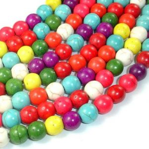 Shop Howlite Round Beads! Howlite Beads, Multicolored, Round, 8mm, 15.5 Inch, Full Strand, Approx 54 Beads, Hole 1.2 Mm (275054010) | Natural genuine round Howlite beads for beading and jewelry making.  #jewelry #beads #beadedjewelry #diyjewelry #jewelrymaking #beadstore #beading #affiliate #ad
