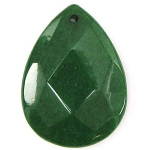 Shop Jade Bead Shapes! 2 Pieces 40mm Faceted Emerald Green Jade Flat Teardrop Bead Pendant 30462 | Natural genuine other-shape Jade beads for beading and jewelry making.  #jewelry #beads #beadedjewelry #diyjewelry #jewelrymaking #beadstore #beading #affiliate #ad