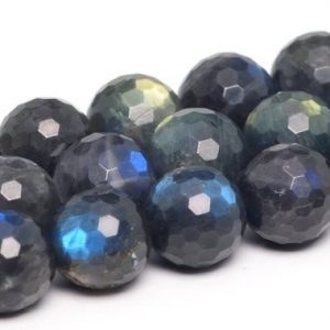"Shop Labradorite Faceted Beads! 10mm Dark Gray Labradorite Beads Madagascar Grade Aaa Genuine Natural Full Strand Micro Faceted Round 15"" Bulk Lot 1, 3, 5, 10, 50 (101283-361) 