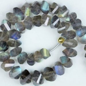 Shop Labradorite Faceted Beads! New Arrival, 9 inch long strand faceted LABRADORITE twisted rondelle beads 4 x 5 — 6 x 8 mm approx | Natural genuine faceted Labradorite beads for beading and jewelry making.  #jewelry #beads #beadedjewelry #diyjewelry #jewelrymaking #beadstore #beading #affiliate #ad