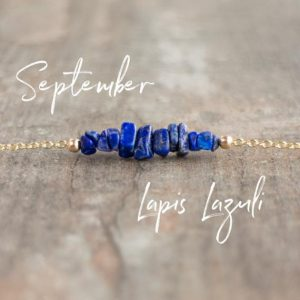 Lapis Lazuli Necklace, Raw Crystal Bar Necklace, Bridesmaids Gift For Her, Ultramarine Blue Lapis Choker, September Birthstone, Jewelry | Natural genuine Lapis Lazuli necklaces. Buy crystal jewelry, handmade handcrafted artisan jewelry for women.  Unique handmade gift ideas. #jewelry #beadednecklaces #beadedjewelry #gift #shopping #handmadejewelry #fashion #style #product #necklaces #affiliate #ad
