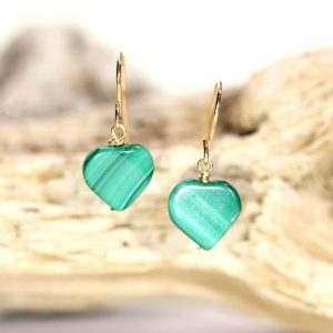 Shop Malachite Earrings! Malachite earrings – heart earrings – mothers day earrings – love earrings – green malachite – wedding earrings | Natural genuine Malachite earrings. Buy handcrafted artisan wedding jewelry.  Unique handmade bridal jewelry gift ideas. #jewelry #beadedearrings #gift #crystaljewelry #shopping #handmadejewelry #wedding #bridal #earrings #affiliate #ad
