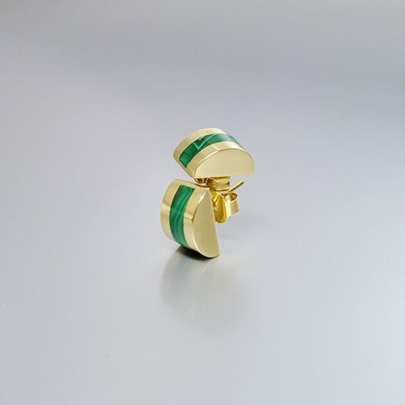 Stud Earrings Malachite And 18k Gold - Gift For Her - Green And Gold Inlay Work - Natural Gemstone
