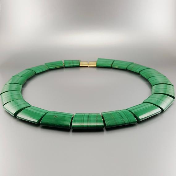 Malachite Statement Necklace Gift Idea For Her - Cleopatra Necklace